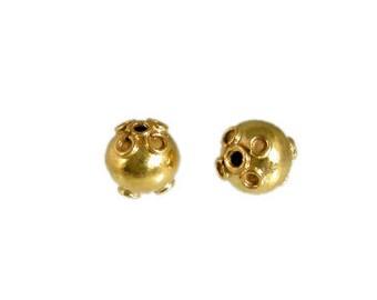 Handmade 24 K Gold Vermeil Bali Round Beads - 2 pcs.