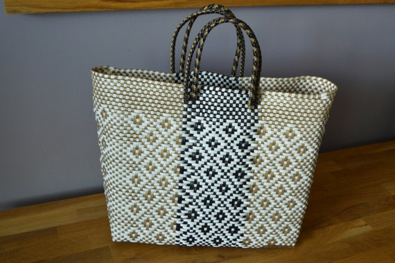 Gold and Black Mexican Handbag Handmade woven plastic tote
