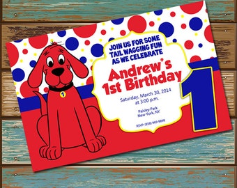 Personalized Digital Invitations Clifford the Big Red Dog