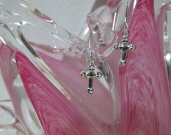 Petite Sterling Silver Cross Earrings