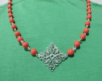 Coral Swarovski Pearl Necklace With Sterling Silver Diamond Shaped Decor