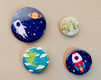 Space Pin Pack, astronaut, earth, moon, galaxy, rocket, planet, button, pinback,