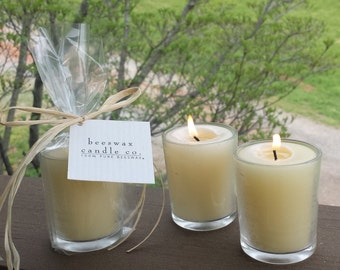 Beeswax Votives in Glass