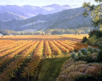 Art Print On Canvas Or Paper September Vineyards