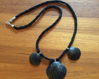 Shell and black cord necklace