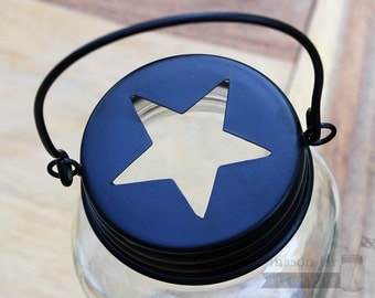 Handle Lid for Regular Mouth Mason Jars w/ Star | Mason Jar Decor | Outdoor | Indoor | for Candles / Potpourri