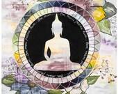 Greeting card Buddha flowers meditation mandala  5x7 Marika Lemay mixed media artist zen modern card and envelope