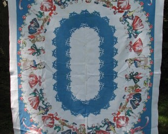 Old Fashioned Dancers Large Vintage Tablecloth cotton