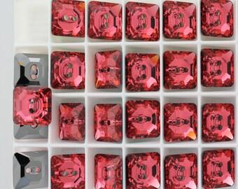 ON SALE - 12 Padparadscha (14mm) Swarovski Crystal 3017 Square Button