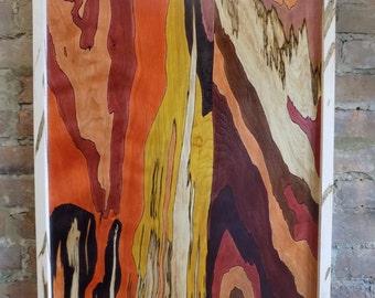 Wood dye on wood panel