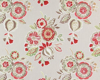 Hand-painted appeal High Quality Decor furnishing fabric with a floral motif- Red