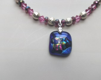 Multi-colored Diacrylic Glass Pendant Necklace / Earrings Set