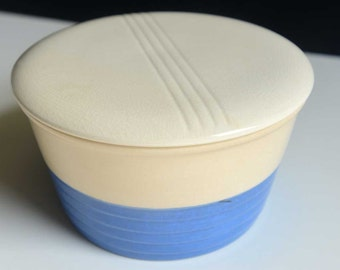3 Vintage Nesting Ceramic Refrigerator Dishes With Covers - Universal Potteries - Blue & Cream