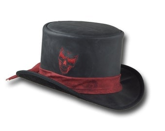 VE Adventures Leather Top Hat Skull Embroidery 3040BL - Black