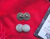 Item SL-0002 - Pewter Cufflinks - Sleevelinks with Rosettes 5/8 inch - Sleeve Buttons