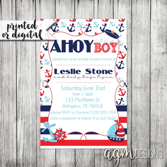 ahoy it 39 s a boy nautical theme baby shower babyshower printable
