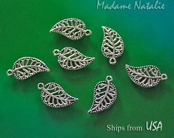 Filigree Leaf Charms (10), Tibetan Silver Leaves, Antique Silver Leaf Findings, Double Sided Charm, Filigree Leaves, Bracelet Leaf Charms