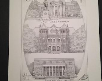 UNC Greensboro 11x14 collage print