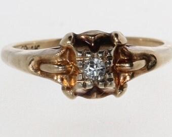 14K Yellow Gold .05ct Diamond Vintage Engagement Ring Size 5.5