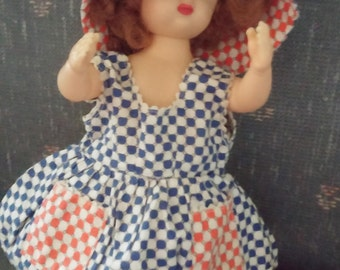 "Vintage Doll Clothes 10"" Doll Sundress with Hat"