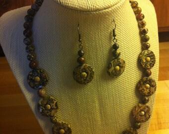 Leopardskin Jasper Necklace and Earrings
