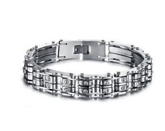 "Stainless Steel Bracelet Bike Chains With Rhinestones Unisex Bracelet Hidden Safety Clasp 9"" Long 1/2"" Wide"