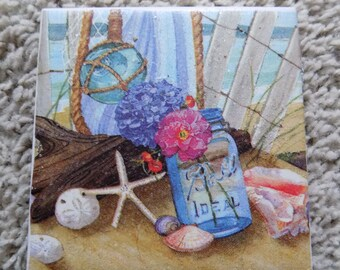 Garden by the Sea Ceramic Tile Coasters (set of 4)
