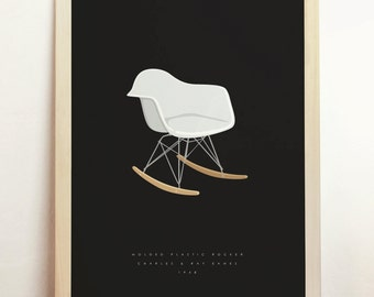 Molded Plastic Rocker RAR Print Charles and Ray Eames Poster Chair Rocking Mid Century Modern Minimalist Home Decor 8x10 A4 8.3 x 11.7 in