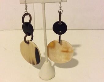 Chunky Buffalo horn natural white and black long hoop earrings