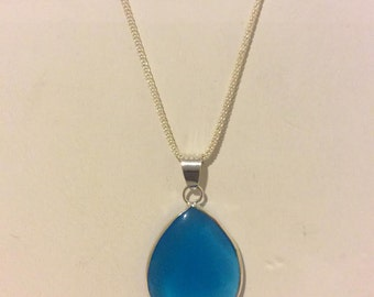 Blue and sterling silver teardrop pendant necklace