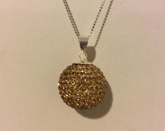 Gold and sterling silver wrecking ball pendant sparkle necklace