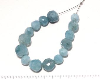 aquamarine faced puff round beads 10cm/G-0083