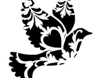 """12/12"""" vintage dove stencil."""