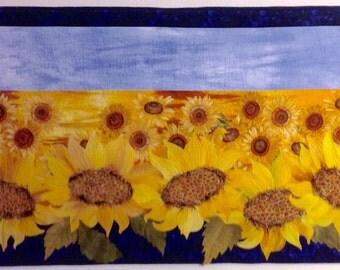 Art Quilt, Original Fiber Art Wall Hanging, Giant Sunflowers, Hand dyed Fabric, Fabric Art, Flower field