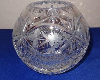 Cut Glass Crystal Rose Bowl
