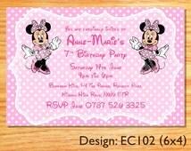 Personalised Minnie Mouse Children's Birthday Party Invite Digital Invitation [EC102]