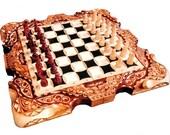 Wooden carved chess set, handmade chess set, souvenir chess set, present for him, gitf for him, wooden souvenir
