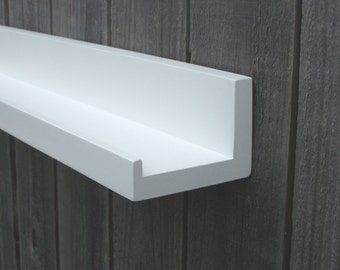 "Floating Ledge Shelf, You Choose Your length, 12"", 14"", 16"", or 18 Inches. Bright White Finish"
