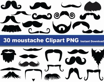 INSTANT DL- Mustaches clip art- 30 high res PNG