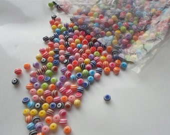 50 x 8mm Colourful Mix Stripe Round Resin Multicolour Craft Beads - A6
