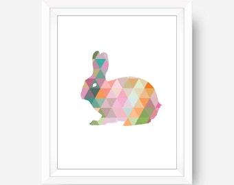 Rabbit Print, Rabbit Art, Geometric Rabbit, Colorful Rabbit Print, Multi Color Rabbit, Modern Wall Art Rabbit Dorm Office Home Decor, 8x10