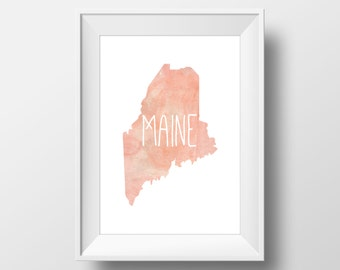 Maine State Pink Watercolor Printable Art, Maine State Print, Maine Art, Modern Art,