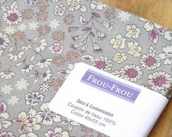 2 - FROU-FROU - coupon 45 x 55 fabric light cotton - Collection Fleuri - sand