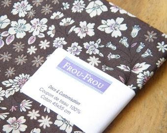 10 - FROU-FROU - coupon 45 x 55 fabric light cotton - Collection Fleuri - coffee