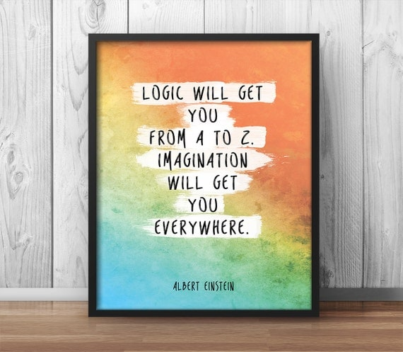 "Costco Print Sizes >> Albert Einstein Poster Quote ""imagination will get you everywhere"" Watercolor Artwork Printable ..."