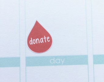 donate blood sticker - stickers for planners, journals, scrapbooks and more!