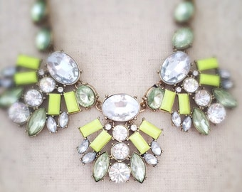 Lime green necklace, green necklace, statement necklace, clear rhinestone necklace, rhinestone necklace, necklace, jewelry, gold necklace