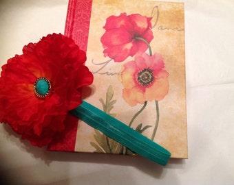 Red orange and teal poppy flower headband