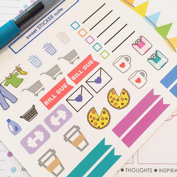 Calendar Planner Reminder Stickers : Sampler set planner stickers home chores appointment