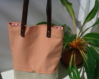 summer tote bad,colorblock tote bod,peach bad,leather handles bad